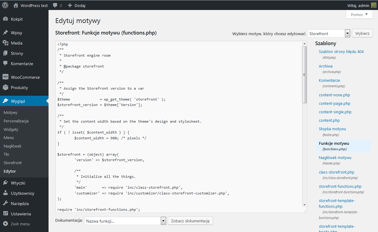 Edytowanie pliku functions.php