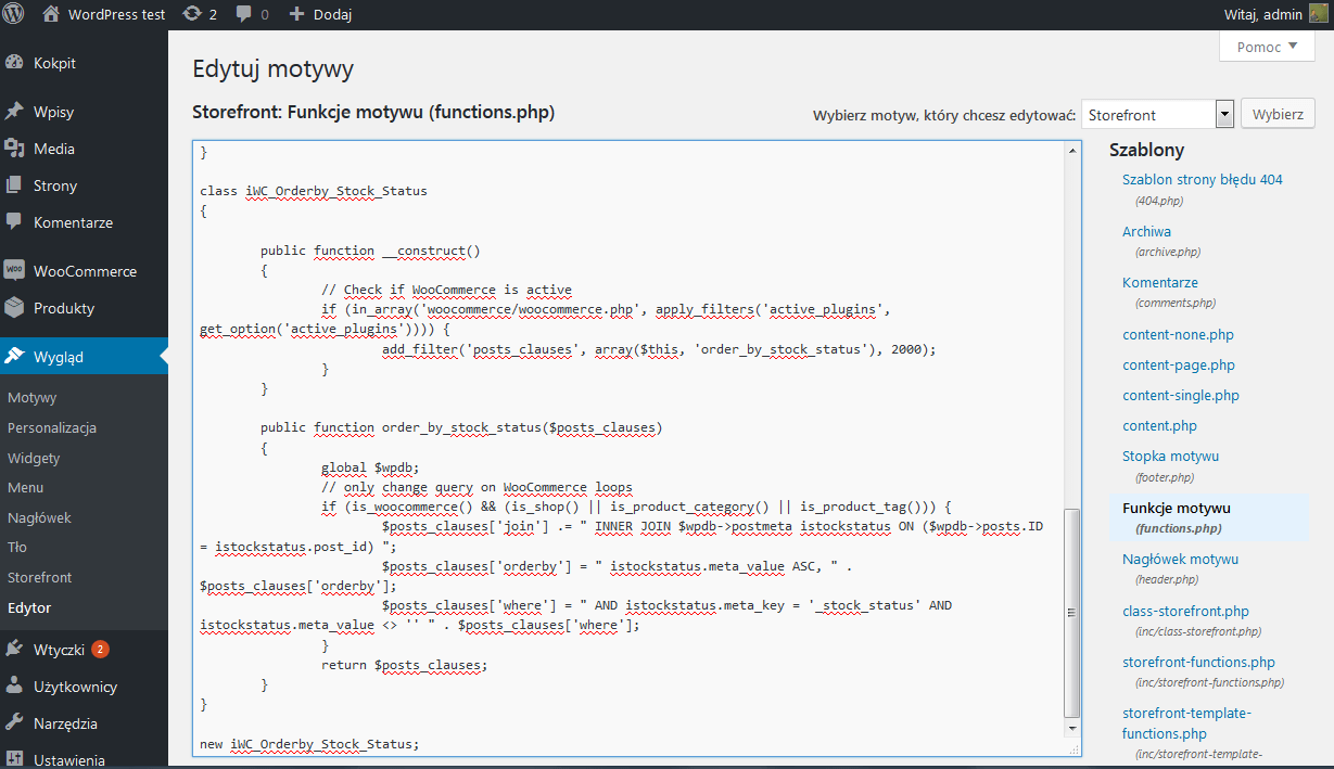 sortowanie listy produktów - kod źródłowy